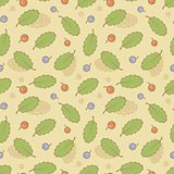 Seamless background with berries and leaves