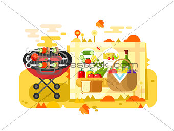 BBQ party design flat