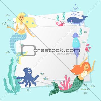 Greeting banner on the marine theme. Cute mermaids, seashells, marine animals.