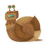 Snail robot cartoon Vector Illustration