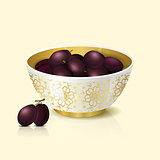 white bowl with plums shadow and reflection
