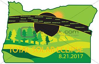2017 Total Solar Eclipse Across Oregon Cities Map Illustration