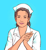 Shy nurse woman in white coat