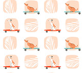 Hand drawn vector cartoon drawing summer time fun seamless pattern illustration with riding dogs on skateboards and long boards isolated on white background.