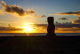 Moai statue ahu akapu at sunset, easter island