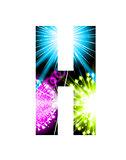Sparkler firework letter isolated on white background. Vector design light effect alphabet. Letter H