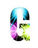 Sparkler firework letter isolated on white background. Vector design light effect alphabet. Letter G