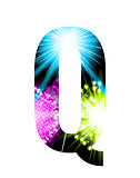 Sparkler firework letter isolated on white background. Vector design light effect alphabet. Letter Q
