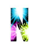 Sparkler firework letter isolated on white background. Vector design light effect alphabet. Letter N