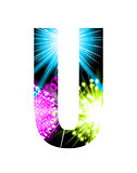 Sparkler firework letter isolated on white background. Vector design light effect alphabet. Letter U