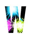 Sparkler firework letter isolated on white background. Vector design light effect alphabet. Letter W