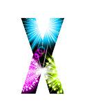 Sparkler firework letter isolated on white background. Vector design light effect alphabet. Letter X