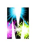 Sparkler firework letter isolated on white background. Vector design light effect alphabet. Letter M