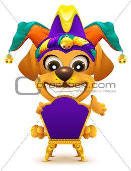 Fools day. Yellow dog sitting on throne