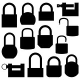 Set of black icons lock, vector illustration.