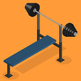 Barbell bench press in 3D, vector illustration.