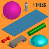 Flat design elements for fitness, vector illustration.