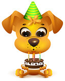 Birthday. Yellow dog holding cake
