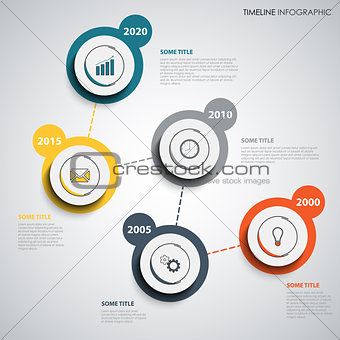 Time line info graphic with abstract design round pointers