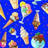Icecream seamless pattern design vector