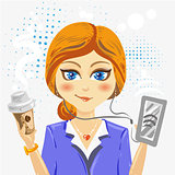 Vector illustration - cute Cartoon businesswoman character with coffee and smartphone