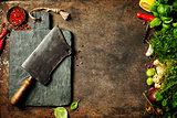 Vintage cutting board,meat cleaver and cooking ingredients