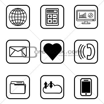 03 Services icons  set on white background.