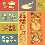 Pizza icon. Set of cute various pizza ingredient  icons.
