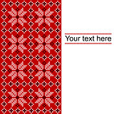 Card with ethnic ornament design in white,red and black colors