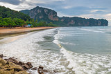 Beach in Thailand, Krabi resort on a cloudy day