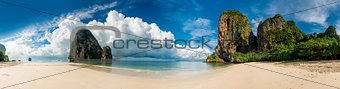 Beautiful horizontal panorama of Thailand beach  Phra Nang