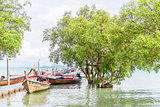 Pier with traditional Thai wooden boats, sea view