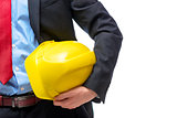 Boss architect in suit with helmet in hand, close-up hand