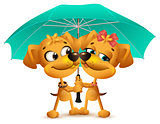 Yellow dog loving couple holding an umbrella