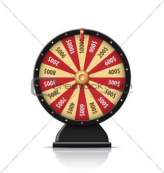 Black wheel of fortune 3d object isolated on white