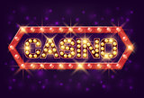 Casino poster vintage style. Casino banner with glowing lamps for online casino, poker, roulette, slot machines, card games. Vector illustrator.