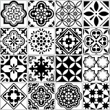 Botanical seamless pattern, hand-drawn vector flowers in black and white