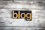 Blog Letterpress Word on Wooden Background