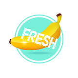 Banana drink minimalistic label design. Fresh tropical fruit jui