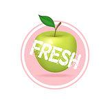 Apple drink minimalistic label design. Fresh fruit juice sticker