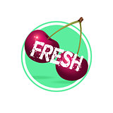 Cherry drink minimalistic label design. Fresh berries juice stic