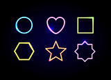 Neon different shapes frames. Glowing circle, heart, square, hex