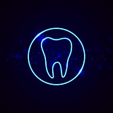 Neon dental sign. Shining tooth vector emblem in line style.