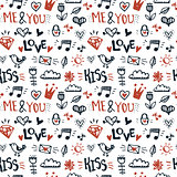 Doodle hand drawn seamless pattern. Cute elements romantic vecto