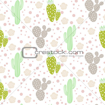 Cactus desert vector seamless pattern. Green and grey nature fabric print texture.