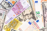 Background made from euro and dollar banknotes.