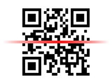 Qr code sample with red laser scanner