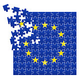 Vector illustration of European Union flag divided on jigsaw puzzle pieces
