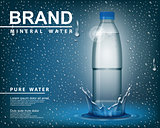 Pure mineral water ad, Transparent shine plastic bottle with drop elements on blue background. realistic 3d vector illustration Packaged Drinking Mineral water container mockup template.