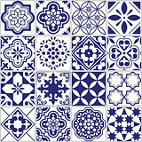 Seamless tiles pattern, Mediterranean floral mosaic set, Lisbon seamless navy blue ornament